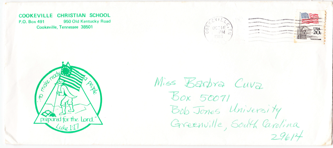 Oct 1983 letter envelope